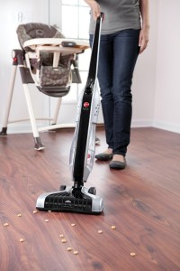 1.Cleaning hardwood floors with an electric broom